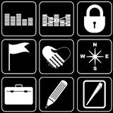 Set  icons - Computer, Web, Internet, Technology. White  icons on a black background Stock Photography