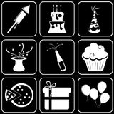 Set  icons - Computer, Web, Internet, Technology. White  icons on a black background Stock Images