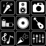 Set  icons - Computer, Web, Internet, Technology. White  icons on a black background Royalty Free Stock Photos