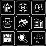Set  icons - Computer, Web, Internet, Technology. White  icons on a black background Royalty Free Stock Images