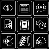 Set  icons - Computer, Web, Internet, Technology. White  icons on a black background Royalty Free Stock Photography