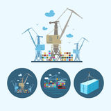 Set icons with   container,  the cranes with containers in dock, vector illustration Royalty Free Stock Images