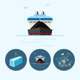 Set icons with   container, dry cargo ship , the crane with containers in dock, vector illustration Royalty Free Stock Photography