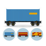 Set of icons the containers on a railway platform Stock Image