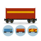 Set of icons the containers on a railway platform Stock Photo