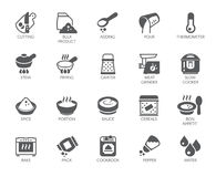 Set of icons on cookery theme isolated on white background. Flat labels for cooking projects. Vector illustration Royalty Free Stock Photo