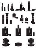 Set icons cosmetics black silhouette vector illust Stock Photography