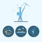 Set icons with  crane, cargo containership , the crane with containers in dock, vector illustration. Crane in dock. Set with 3 round colorful icons Stock Photo