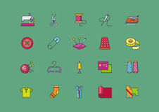 Set Icons of Creative Sewing Flat Style Stock Images