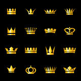Set of icons crowns. Set of icons  golden crowns  on   black background Stock Image