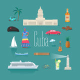 Set of icons with Cuban landmarks in vector Stock Image