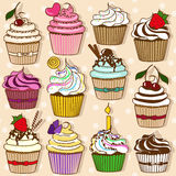 Set of icons of cupcakes royalty free illustration
