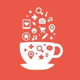 Set of icons of cups of coffee fly white and red colors Royalty Free Stock Photos