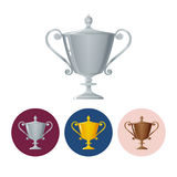 Set icons cups of winner,icon  trophy cup Stock Photos