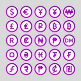 Set of icons for currency symbol countries in the world vector illustration