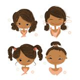 Set of icons with cute smiling girl, sketch for Stock Photo
