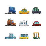 Set of icons cute stylized cars isolated on white background. Vector illustration Vector Illustration