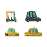 Set of icons cute stylized different of taxi isolated on white background. Royalty Free Stock Images