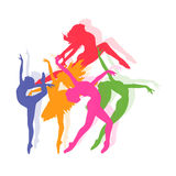 Set of icons of dancing girls, fitness, vector illustration Royalty Free Stock Photos