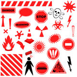 Set of Icons of Danger. Objects isolated on white background Stock Photos