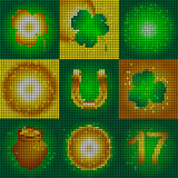 Set of icons on the day of St. Patrick. Image of small round shapes.Glowing symbols of the holiday.Leaf clover and glowing circles. The image of a pot of gold royalty free illustration