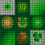 Set of icons on the day of St. Patrick. Image of small round shapes.Glowing symbols of the holiday.Leaf clover and glowing circles. The image of a pot of gold vector illustration