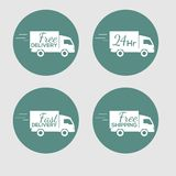 Set of icons with the delivery car of goods on Stock Photos