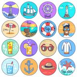 Set of Icons Depicting Multiple Marine Items. Set of circle icons depicting multiple marine items. Vector illustration of various things and object related to Stock Photography