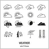 Set of 16 icons depicting weather conditions. Rain, snow, hail, lightning, wind, solar or cloudy weather. royalty free illustration