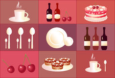 Set of icons desert. Set of cute icons desert. Cake, cherry, cup, spoon Stock Image