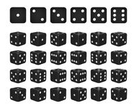 Set of 24 icons of dice in all possible turns. Black cubes with white pips isolated on white background. Vector illustration Stock Photography