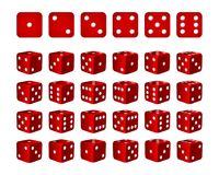 Set of 24 icons of dice in all possible turns. Red cubes with white pips isolated on white background. Vector illustration Royalty Free Stock Images