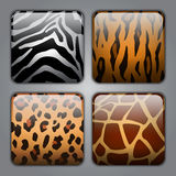 Set of icons with different animal textures Stock Photos