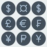 Set of icons with different currency symbols. In blue tones with shadows Stock Photo