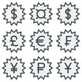 Set of icons with different currency symbols. Dark gray symbols in zigzag circles Stock Photo