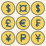 Set of icons with different currency symbols with shadows. Set of icons with different currency symbols - blue symbols with shadows in yellow circles with blue Stock Photography