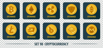 Set of icons of different exchange cryptocurrency Stock Photos