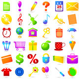 Set icons with different objects Stock Photography