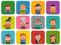 Set of icons with different people royalty free illustration