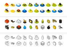 Set of icons in different style - isometric flat and otline, colored and black versions. Vector symbols - Games collection Stock Photo