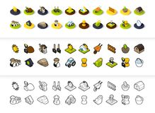 Set of icons in different style - isometric flat and otline, colored and black versions. Vector symbols - Farm and farming collection Stock Photo
