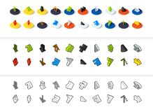Set of icons in different style - isometric flat and otline, colored and black versions. Vector symbols - Arrows collection Royalty Free Stock Image
