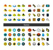 Set of icons in different style - isometric flat and otline, colored and black versions. Vector symbols - Games collection Royalty Free Stock Image