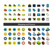 Set of icons in different style - isometric flat and otline, colored and black versions. Vector symbols - Shopping and finance collection Royalty Free Stock Photos