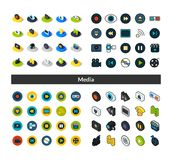 Set of icons in different style - isometric flat and otline, colored and black versions. Vector symbols - Media collection Stock Photography