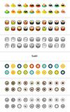 Set of icons in different style - isometric flat and otline, colored and black versions. Vector symbols - Sushi collection Stock Images