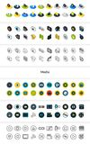 Set of icons in different style - isometric flat and otline, colored and black versions. Vector symbols - Media collection Royalty Free Stock Photo