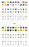 Set of icons in different style - isometric flat and otline, colored and black versions. Vector symbols - Arrows collection Royalty Free Stock Photo