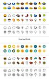 Set of icons in different style - isometric flat and otline, colored and black versions. Vector symbols - Food and drink collection Stock Photography