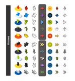 Set of icons in different style - isometric flat and otline, colored and black versions. Vector symbols - Arrows collection Stock Images